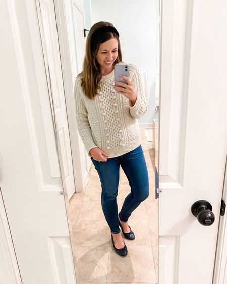 Cableknit sweater and denim for a classic everyday look http://liketk.it/36juJ #liketkit @liketoknow.it #LTKstyletip #LTKunder100 #LTKshoecrush