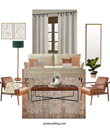 Cozy and warm living room! Living room mood board, vintage inspired rug, leather chairs, leather bench, plaid curtains, neutral sofa, Walmart finds   #LTKSeasonal #LTKhome