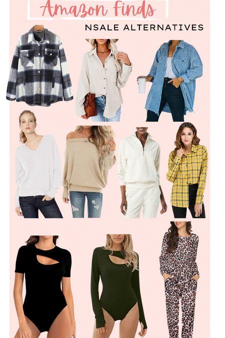 NSALE dupes // amazon finds // fall basics // fall trends // shacket plaid // sweaters // cutout top //pajama set // corduroy jacket // fall finds   #LTKunder50 #LTKSeasonal #LTKsalealert