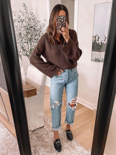 Goodnight Macaroon 40% off = TAYLOR40 V-neck sweater: one sized  Mules / loafers: size up  Christian Dior lookalike tote  - Agolde Jeans: size down   #LTKsalealert #LTKshoecrush #LTKSeasonal