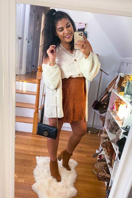 Perfect fall outfit with a cardigan + corduroy skirt and the perfect fall booties from Marc fisher #liketkit http://liketk.it/2YmZS @liketoknow.it #amazon #amazonfashion #founditonamazon #amazonfinds #ltkcurves  #LTKunder50 #LTKshoecrush #LTKFall