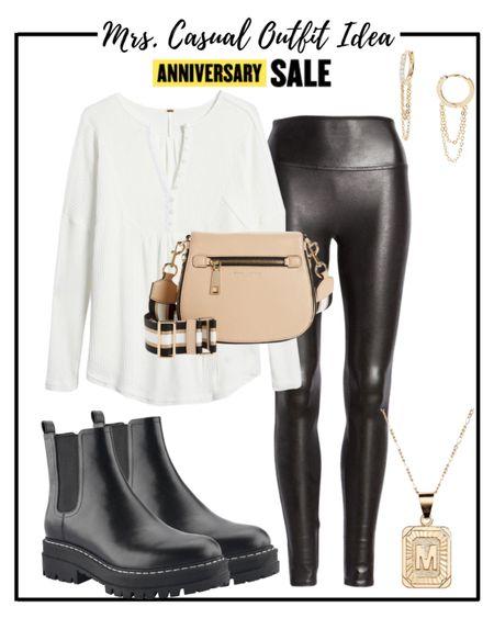 Nordstrom anniversary sale outfit idea. Free People henley tee Spanx faux leather leggings & more 💗  #LTKsalealert #LTKstyletip #LTKshoecrush