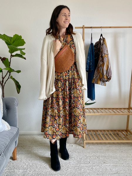 Styling the Dolly Western boot from Freda Salvador - fit - TTS or size up 1/2 - use code FREDAFAMILY for 20%   Dress is the Celeste dress from Shop Mille - size down Bag is Clare v grande Fanny Sweater is Jenni Kayne cotton cardigan - size down!!   #LTKstyletip #LTKitbag #LTKshoecrush
