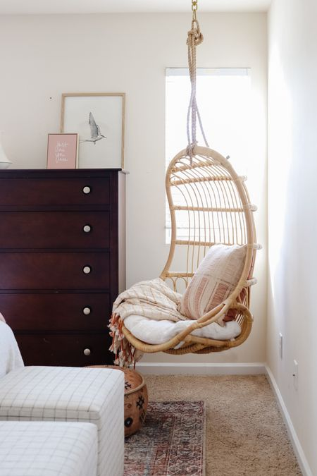 Serena & Lily hanging rattan chair, pre-teen room, amber interiors x loloi throw pillow, pink and blue rug   #LTKhome #LTKkids