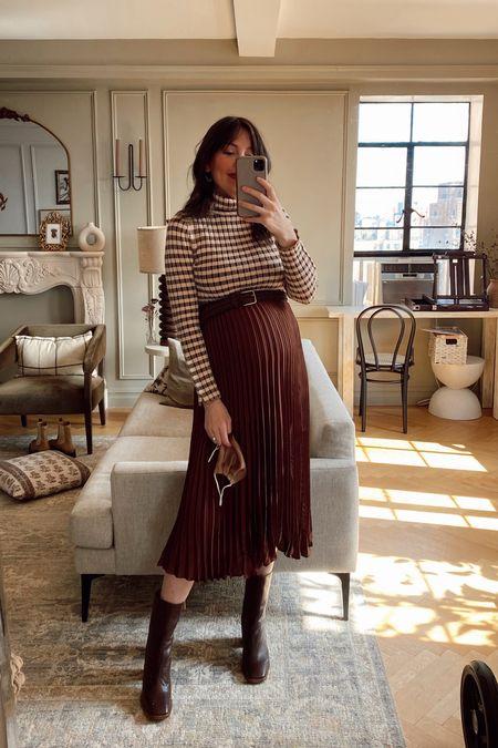 Pleated skirt and plaid turtleneck with booties   #LTKunder100 #LTKsalealert #LTKshoecrush