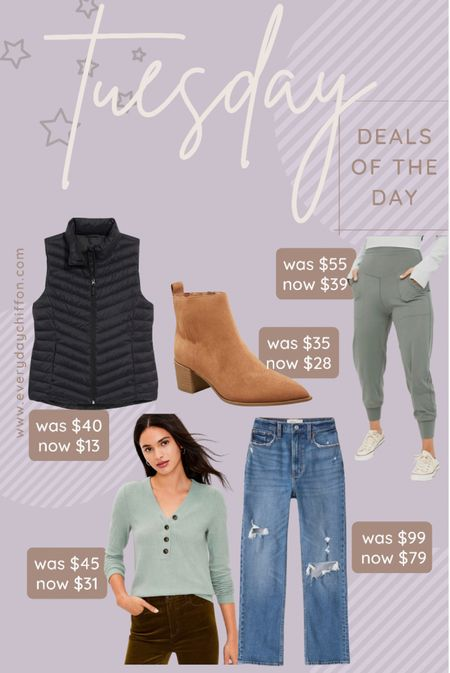Fall outfits, old navy style vest Joggers, Aerie Abercrombie jeans LOFT henley Fall boots, target style, ankle boots   #LTKSeasonal #LTKshoecrush #LTKunder100