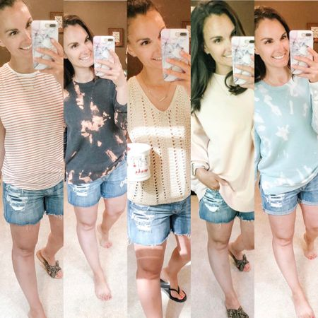 I've been getting a lot of questions about these shorts lately! They are my favorite denim cutoffs! They are stretch denim and distressed perfectly and I wear them all.the.time! I roll them down for extra length...in the product pic they are shown rolled up. I sized up because I wanted a looser fitting denim. http://liketk.it/2QjsB #liketkit @liketoknow.it
