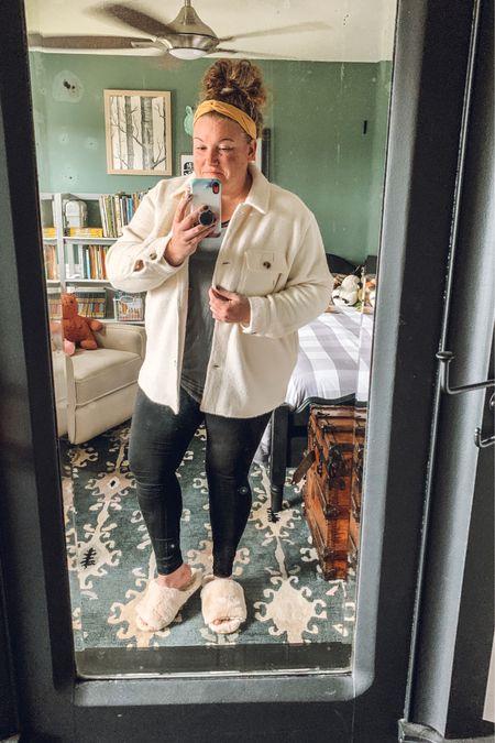 My cozy game is on point!  Slippers, shacket, #oldnavy, leggings, kids bedroom, white coat, athleisure, warm layers  #LTKunder50 #LTKSeasonal #LTKcurves