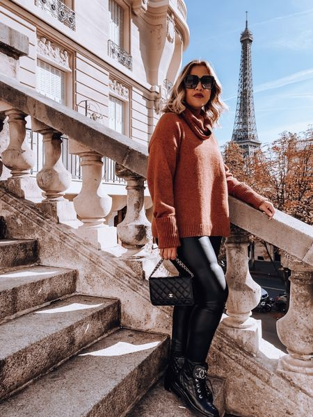 Turtle neck sweater, faux leather leggings, Chanel combat boots, Chanel WOC, oversized sunglasses   #LTKtravel #LTKunder100 #LTKSeasonal