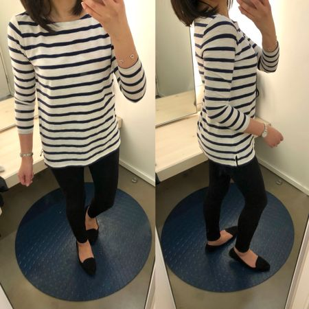 I tried on this ⚓️ navy and white striped tee in size XS regular and ordered size S petite for a shorter overall length and relaxed fit. I like that it's not too see through. It's on sale for 35% off + FREE shipping today with the code FORALL making it under $10! @liketoknow.it http://liketk.it/2uHZ9 #liketkit #LTKsalealert #LTKunder50 #LTKunder100