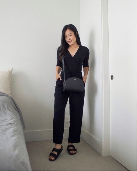 """So very happy with the minimal aesthetic of the A.P.C Black Demi-Lune crossbody bag, and where it falls on my 5'3"""" frame."""