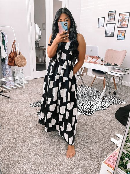 Wearing a medium in this black and white maxi dress from Amazon   #LTKunder50 #LTKtravel