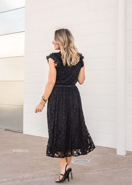 The lace in both of these pieces is soft and lightweight and fully lined.  Blouse Fit: I'm wearing an XXS   Skirt Fit: I'm wearing an XXS   #LTKstyletip #LTKHoliday #LTKSeasonal