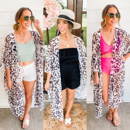 Amazon kimono styled three ways! Grab every single one of these looks directly from Amazon shipped to your door! The product quality of these is amazing. Not to mention one of my brand new favorite bathing suit is only 1499 right now on Amazon!   http://liketk.it/3g6cY #liketkit @liketoknow.it #LTKswim #LTKstyletip Shop my daily looks by following me on the LIKEtoKNOW.it shopping app