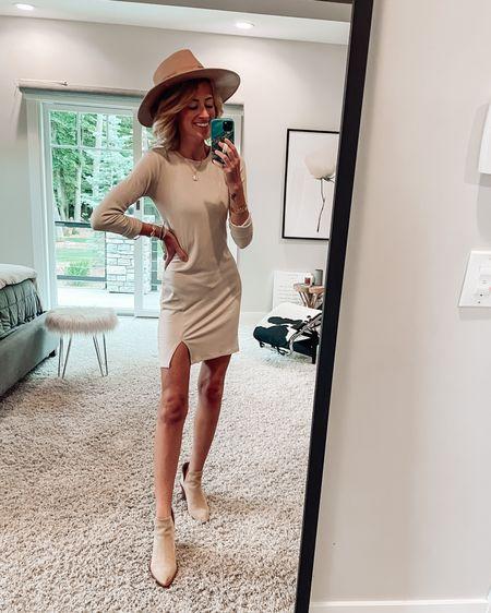 Nordstrom sale dress and outfit idea Bp dress Suede ankle booties  Wide brim hat for fall NSALE #nsale #LTKstyletip #LTKsalealert http://liketk.it/3jQza @liketoknow.it #liketkit
