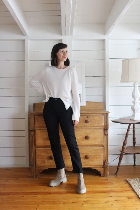 A recent look from the Style Journal.   Everyday Sweater - Jenni Kayne - True to size for a relaxed fit. Super soft and versatile. - Use LEE15 for 15% Off (anytime)  Jeans - Old - Similar linked  Boots - Maguire     #LTKSeasonal