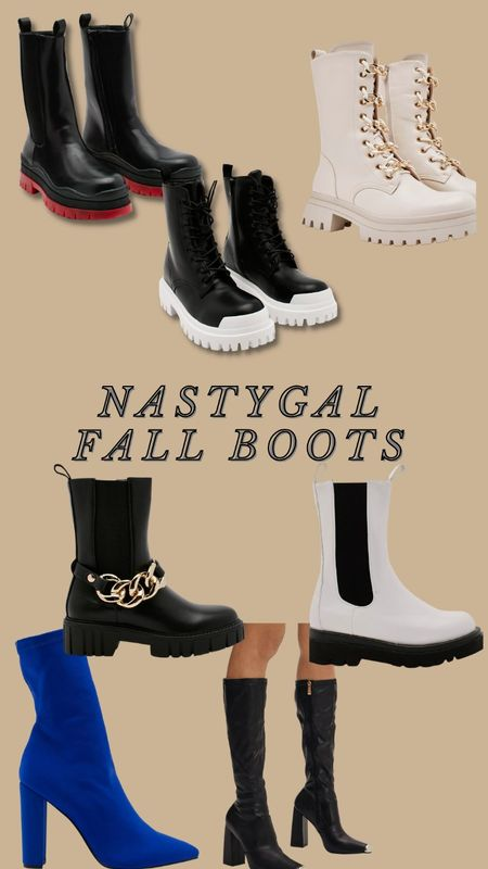 Nastygal  boots  booties  black boots  white boots  cowboy boots  block heel  point toe  causal boots  lugg boot  #LTKunder100 #LTKunder50 #LTKshoecrush