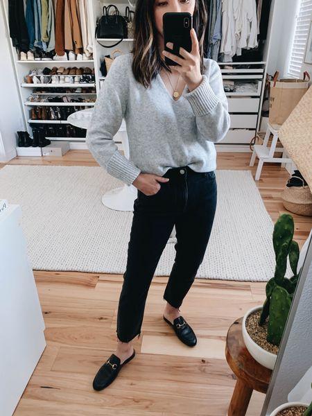 Madewell tomboy straight jeans.   Sweater- Treasure & Bond xs Jeans- Madewell 23 petite  Mules- Gucci 35 Necklace- Madewell  #LTKshoecrush #LTKunder50