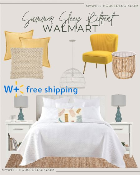 #ad Walmart  Summer sleep retreat! Create your own escape with this upbeat and colorful trend.   Colorful home accents and furniture for every room  Bedroom, bed, night stands, decorative pillows, accent chairs, accent tables  #LTKhome #LTKsalealert #LTKSeasonal