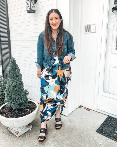 Spring dress with a jean jacket   http://liketk.it/3bEh6 @liketoknow.it #liketkit #LTKsalealert #LTKstyletip #LTKunder50