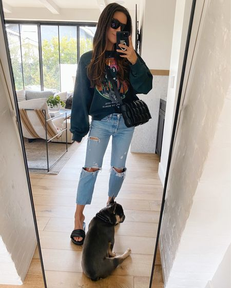 Comfy casual - my new favorite sweatshirt on repeat! I'm wearing a size small and these slide sandals are the comfiest I own! @liketoknow.it #liketkit http://liketk.it/3aXNS #LTKshoecrush #LTKunder100 #LTKstyletip