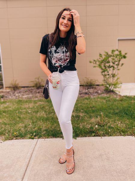 Band tee & white denim   http://liketk.it/3eIhs #liketkit @liketoknow.it #LTKunder50 #LTKunder100 #LTKshoecrush   Steve Madden Target Sandals Dep leopard  Kate spade Purse Bag Shoes Shirt Jeans Skinny jeans