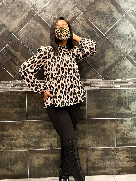 Slaying and staying safe in my leopard print mask that matches one of my favorite blouses 😍   #LTKstyletip #LTKunder100 #LTKworkwear