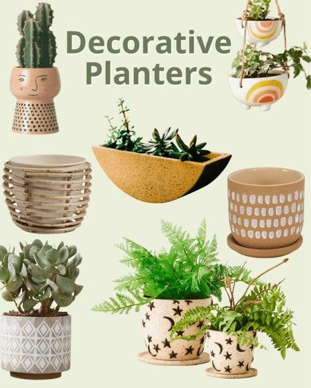 Looking for decorative planters for your houseplants? Here are some on my current favorites. I love the uniqueness of each of these indoor plant pots. Houseplant pot, decorative pot, plant container, indoor plant container, small plant pot, small houseplant container, houseplant planter, indoor planter.   #LTKhome #LTKstyletip #LTKunder50