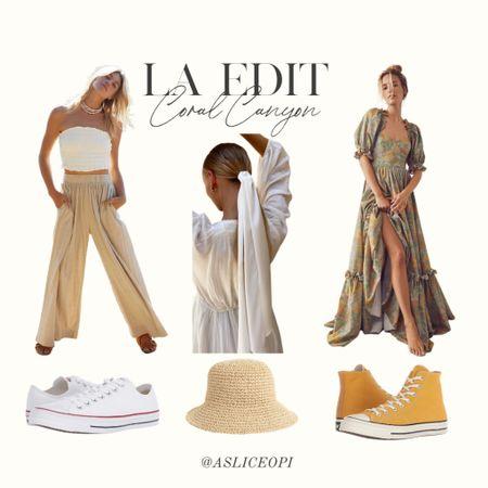 📷 LA EDIT- Vita Grace Hair Accessory, Maxi floral dress, free people set, orange high top converse, white low top converse, woven bucket hat! http://liketk.it/3mwO5 #liketkit @liketoknow.it