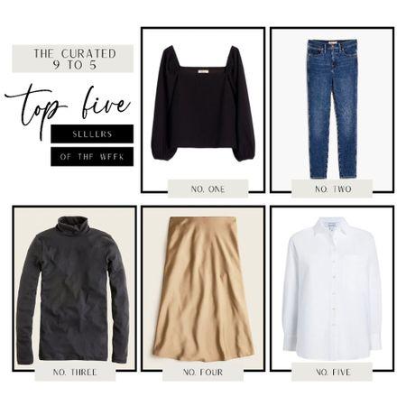 Most loved items of the past two weeks - black off the shoulder top, skinny Madewell jeans, Jcrew tissue turtleneck, midi skirt, white button down skirt   #LTKworkwear #LTKunder100 #LTKSeasonal
