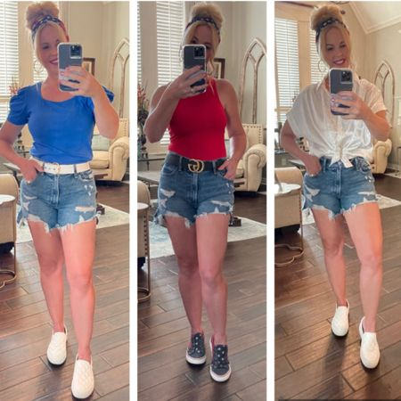Happy Thursday!! So what are your Memorial Day plans? We always hang out by the pool, relax, and barbecue.  Whatever festivities you may have planned here are a few casual red, white, and blue outfit ideas or inspiration!   Link to these outfits are in my bio under my LIKEtoKNOW.it ~ http://liketk.it/3fKb3 #liketkit @liketoknow.it