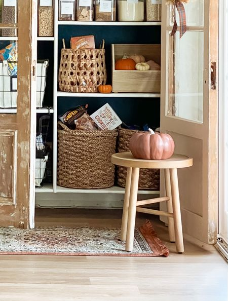 Filled my pantry up with all things pumpkin and it pairs perfectly with the neutral pieces in this space, hello cute stool, fall toned runner and ceramic pumpkin! Gimme all the autumn vibes! 🍂🧡     #LTKhome #LTKHoliday #LTKunder50