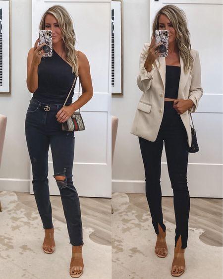 Express try Obsessed with these two looks !  Bodysuit and tank Sz small Blazer xs Jeans if in between Sz down one, Sz 2 Split jeans sz 4 Heels on sale tts Gucci handbag/crossbody bucket bag    #LTKstyletip #LTKworkwear #LTKunder50