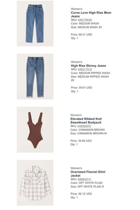 Fall is in the air (well not really but it is in my closet!) And Abercrombie is having a sale! Here's what I ordered. Two pairs of jeans for 30% off and this body suit and plaid shacket!   #LTKstyletip #LTKunder100 #LTKsalealert