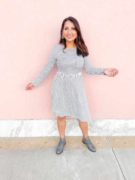 Stripped dress with grey booties!   #LTKbacktoschool #LTKSeasonal #LTKsalealert