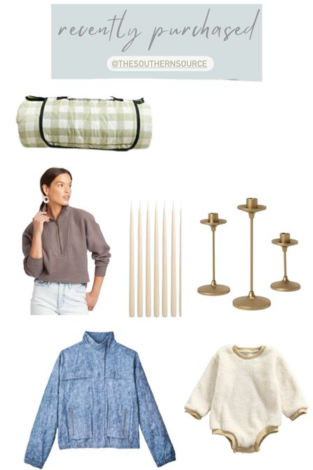 All things I currently own and am Loving! The Baybala jacket I'm returning for a medium (ordered small and just a little tight in the shoulders for me) gotta love a good bomber for fall this one is so feminine! Gingham playmat/picnic blanket is the perfect gift this holiday for moms or families! I love these $25 brass candle holders and quarter zip pullover from target. Still loving my Rothy's too! Sneakers TTS    #LTKGiftGuide #LTKunder50 #LTKHoliday