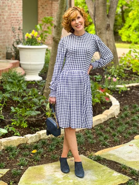 Fall dress, gingham dress, Draper James dress, knit dress, travel dress, blue and white dress, navy blue booties, navy blue shooties, navy blue crossbody  This long sleeve dress has tiny neck ruffles - and also at the wrist. It's a stretchy, flattering fit. It would be great for travel!   #LTKunder100 #LTKSeasonal #LTKshoecrush