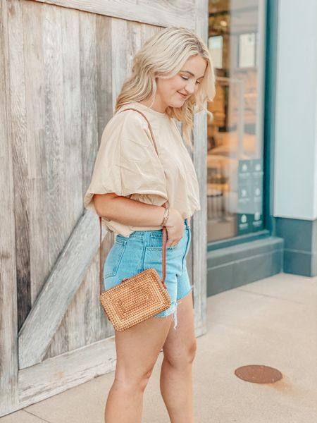 Obsessed with these denim shorts, dressy tee, and purse! http://liketk.it/3gUzk @liketoknow.it #liketkit #LTKitbag #LTKunder50 #LTKstyletip  Top: S Shorts: 27 Shoes: 7.5