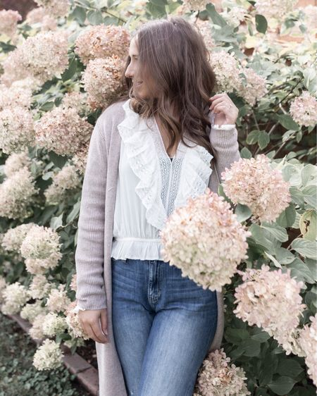 My favorite feminine white blouse and long, cozy, duster cardigan are 25% off today - and they never go on sale! Now is the time to grab it. http://liketk.it/32tTv #liketkit @liketoknow.it #LTKsalealert #LTKunder50 #LTKgiftspo