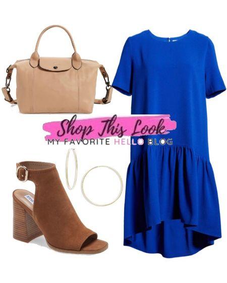 Fall back to school outfit with blue dress and brown boots #nsale #bluedress #backtoschool  #LTKstyletip #LTKshoecrush #LTKsalealert