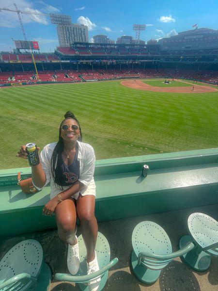 The sporty outfit that's Boston Red Sox game day summer outfit. Sporty cute linen skirt   #LTKcurves #LTKfamily #LTKSeasonal