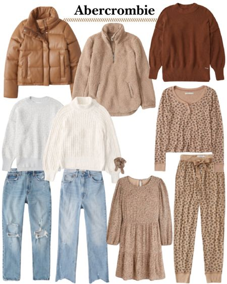 Abercrombie sale favorites. Black Friday sales. Cozy gifts. Gifts for her. Holiday gift guide. Leopard pajamas. Chenille sweaters. Puffer jackets. Jeans. #liketkit http://liketk.it/31Ys8 @liketoknow.it #LTKgiftspo #LTKsalealert #LTKunder50