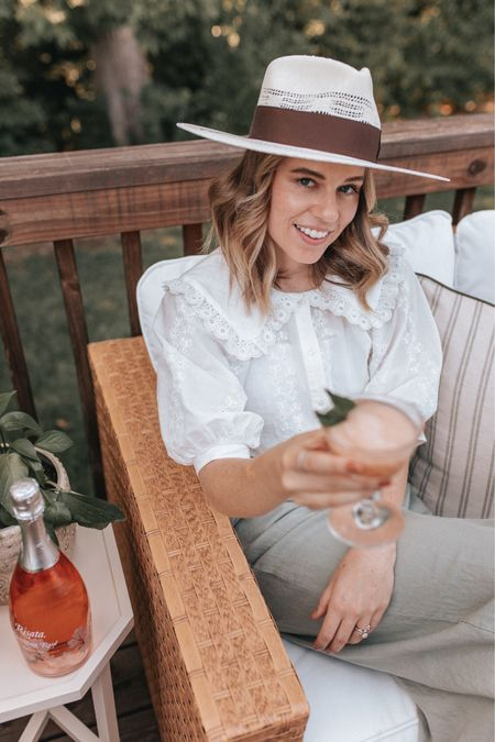 late summer outfit, transitional fall to summer outfit - white embroidered blouse (great wfh top) and green linen pants. coupe glasses for entertaining   #LTKstyletip #LTKunder100 #LTKunder50