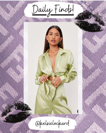 Satin tie front blouse, pastel top, pastel blouse, pastel crop top, satin green top  #LTKunder50 #LTKunder100 #LTKstyletip