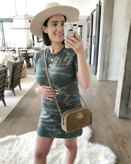 """F A S H I O N // Hey there, babes!🙋🏻♀️ I've been liiiiiving in comfy dresses and this camo tee beaut is perfection! Only $12.90! Sharing it over on today's story on my FRIDAY FINDS! Showing y'all a bunch of fun fashion to transition into fall AND some home decor gems! Tune in for all of my DEAL picks!🙆🏻♀️ Shop this look including my tan go-to hat (wearing a S), layered gold necklaces and my all time fave luxe velvet bag over on the @liketoknow.it app!🤩 It's SO easy - download and follow me """"sbkliving"""" for shopable links!🙌🏻 Happy Friday, boos!😘xx  #sbkliving #fallfashion #ootd #outfitideas #hat #camo #liketkit #LTKunder50 #LTKstyletip #LTKbump #maternity #maternityfashion #pregnancy // http://liketk.it/2Ecaf"""