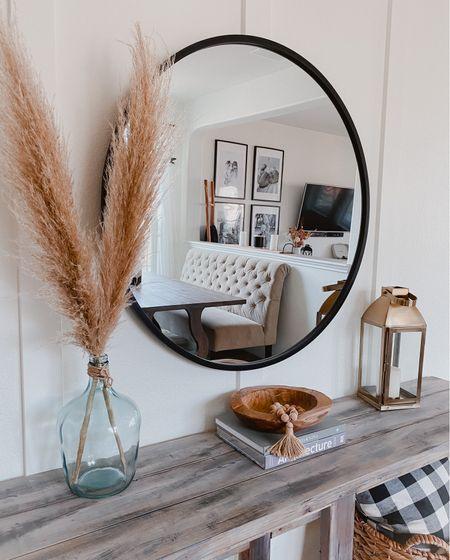 Entryway decor 🖤  Large circle mirror   #LTKhome #LTKSeasonal