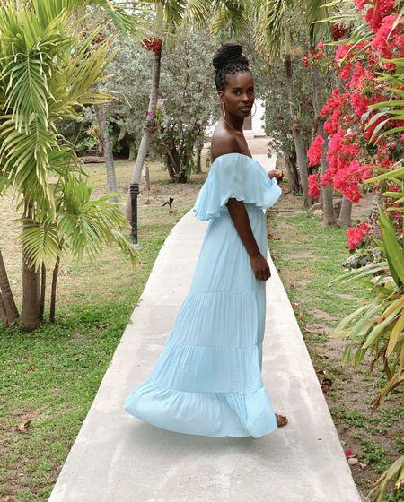 Blue maxi dresses Wearing size s    #LTKSeasonal #LTKunder50 #LTKDay