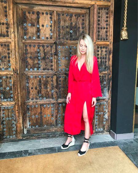 http://liketk.it/2PdTT #liketkit @liketoknow.it @liketoknow.it.home @liketoknow.it.europe @liketoknow.it.family #LTKworkwear #LTKunder50 #LTKstyletip red dress, red dress outfit, red summer dress, black espadrilles, red dress casual, red dress classy, outfit ideas summer, summer outfit, summer dress