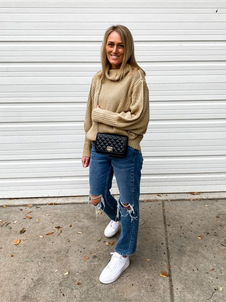 Currently obsessing over this sweater! Wearing it here with Dad jeans and white sneakers.  #LTKshoecrush #LTKunder100 #LTKstyletip