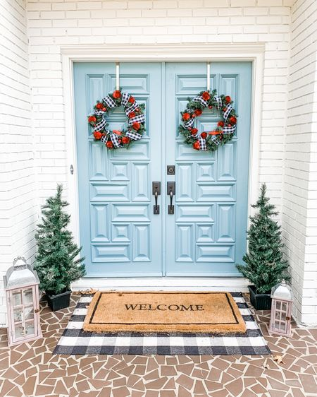 🎄Christmas holiday front door decor inspo - and it's almost all on super sale!! 🎄 I also made my own wreaths and love how they turned out!! Screenshot this pic to get shoppable product details with the LIKEtoKNOW.it shopping app or go to http://liketk.it/326eS @liketoknow.it @liketoknow.it.home #liketkit #LTKhome #LTKsalealert #LTKunder50